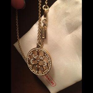 Coach logo gold and rhinestone necklace!